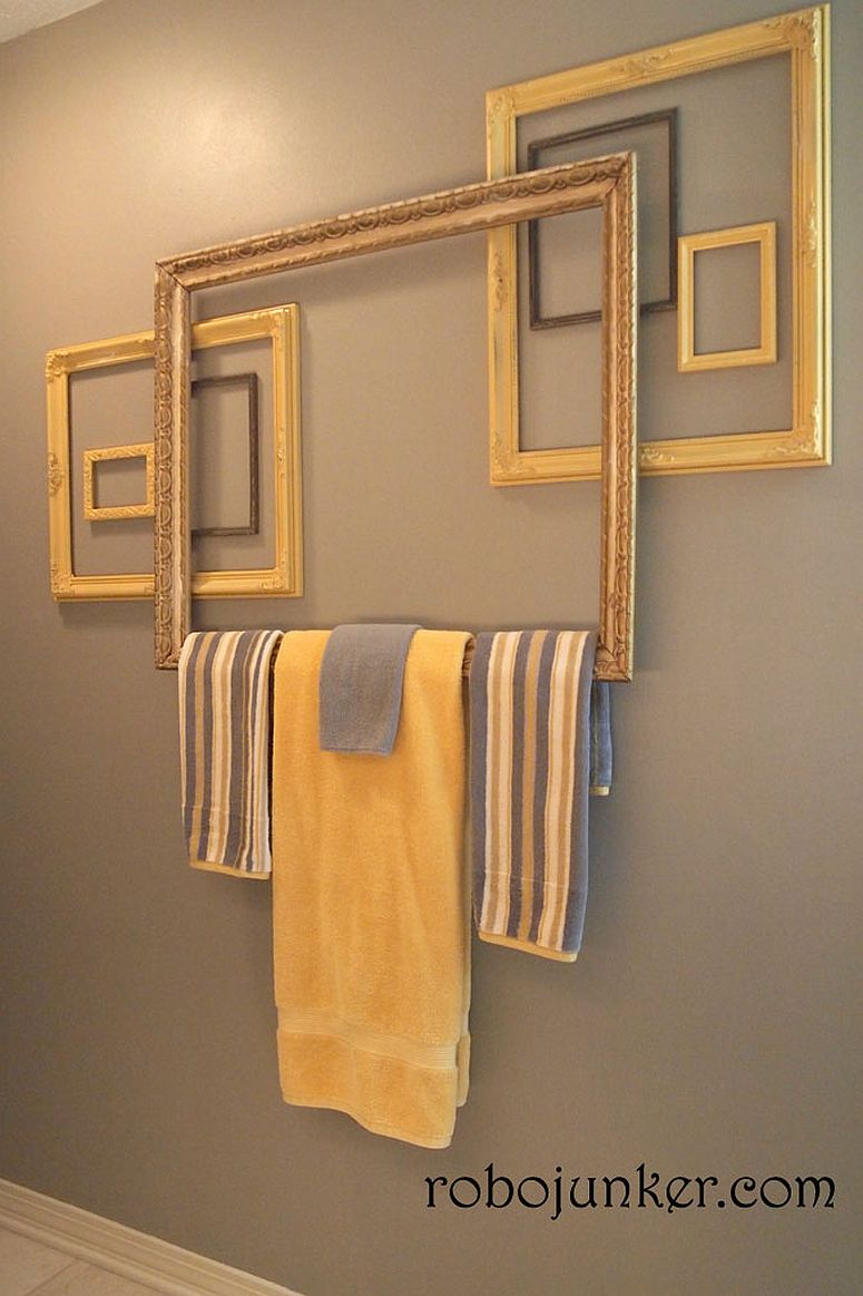 Empty frames turned into gorgeous towel holders