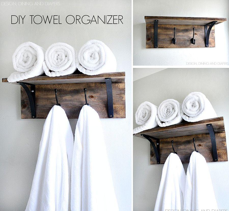 Exquisite rustic DIY towel organizer and holder