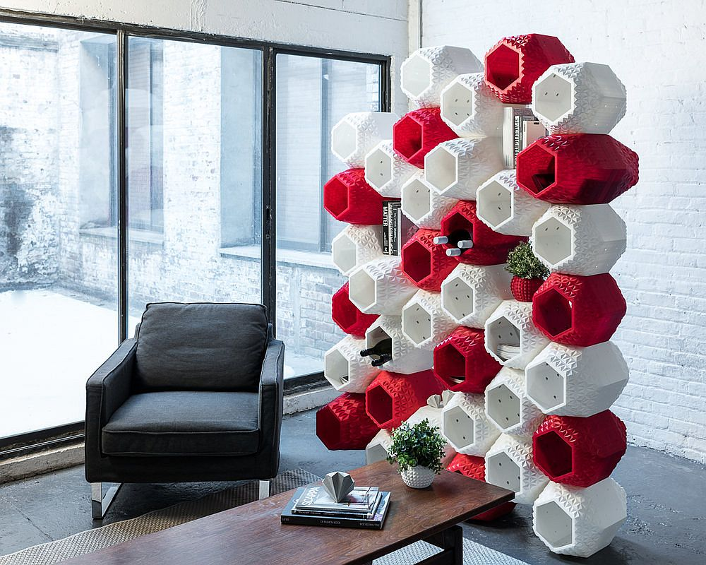Exquisite modular wall system also acts as a colorful and ingenious room divider