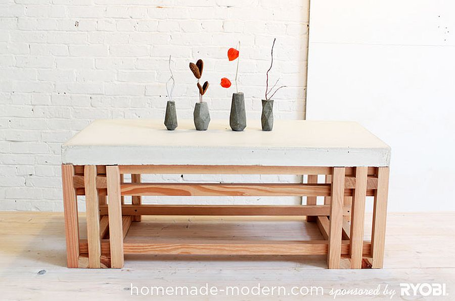 Fabulous concrete and wood coffee table also doubles as side table