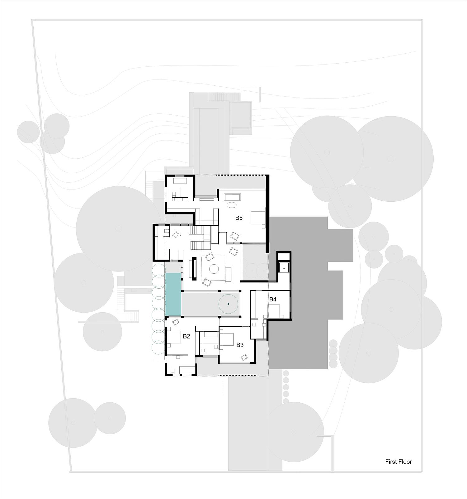 First floor plan of the Two Rock House