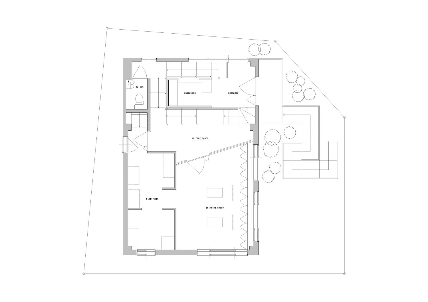 Floor plan of Dog salon with simple, uncomplicated design