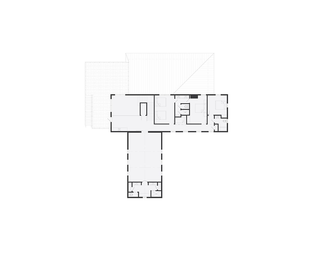 Floor plan of second level of the farmhouse