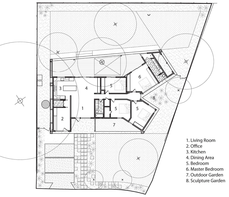 Floor plan of the revamped Y House in Austin, Texas