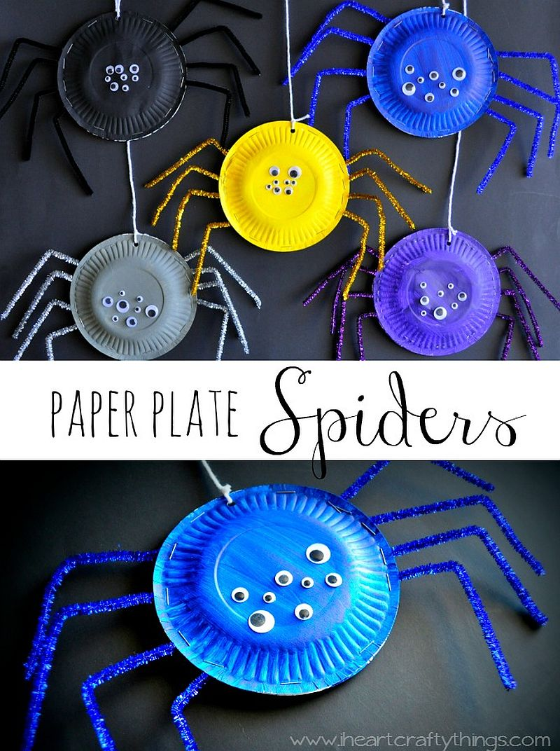 Funky and cool DIY paper plate spiders