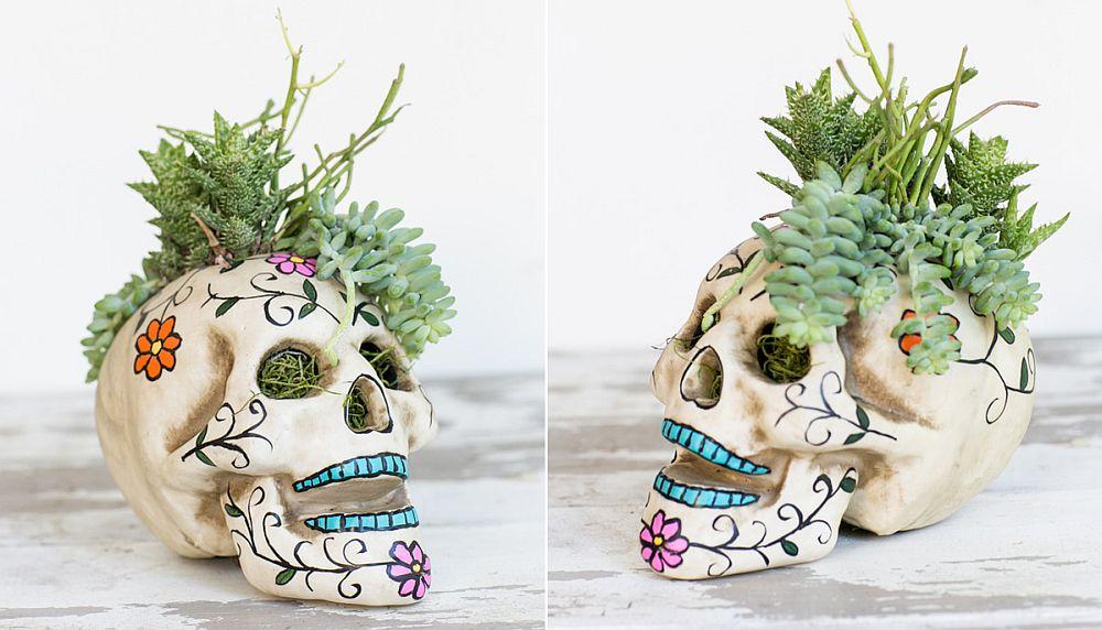 Funky and fun Halloween table skull centerpiece