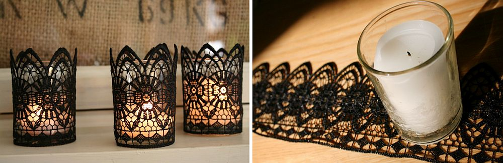 Glass candles wrapped in lace make for cool Halloween decorative pieces