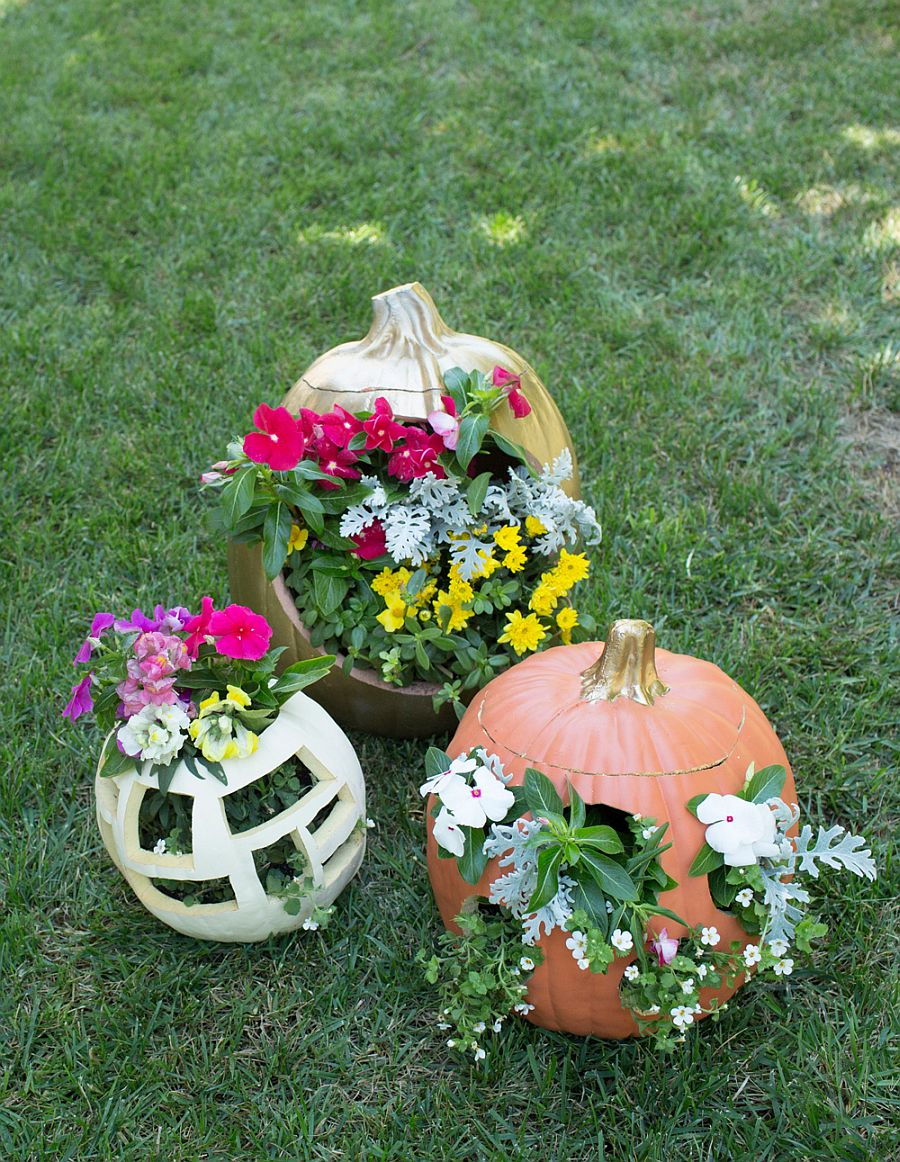 Gorgeous DIY floral fall planter crafted from pumpkins