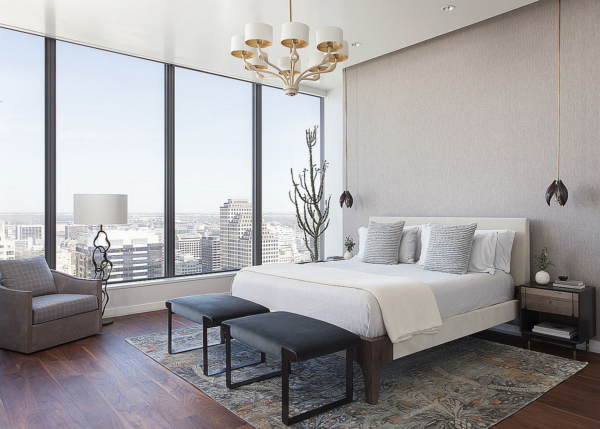 Gorgeous master bedroom with a view of Austin skyline