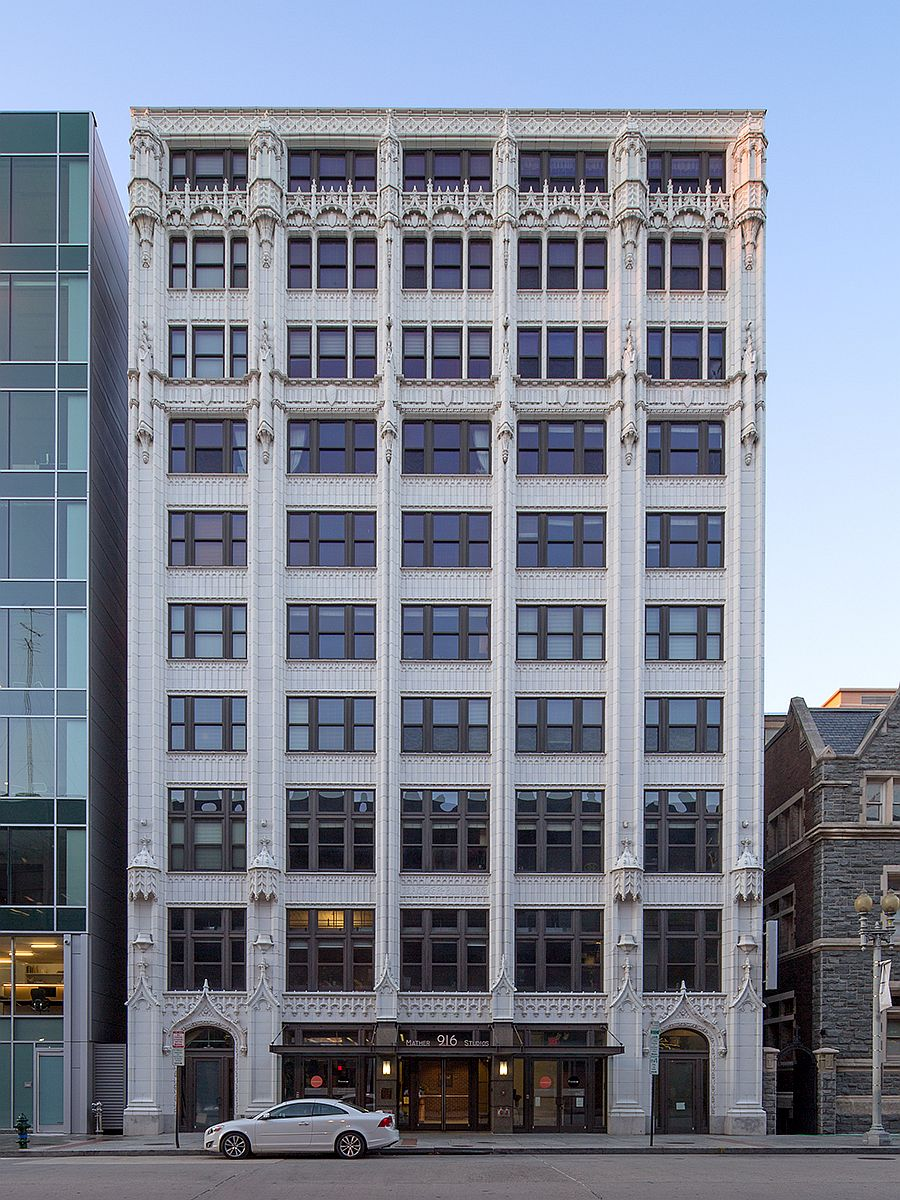 Gothic-revival terracotta facade of the Mather Building gives it a unique look