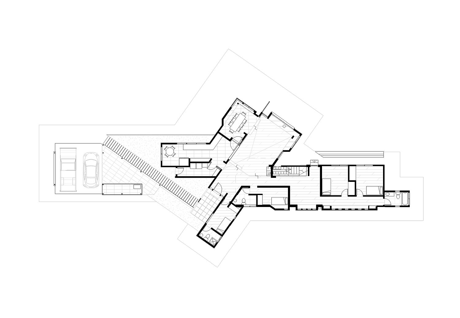 Ground floor plan of contemporary home in Chile