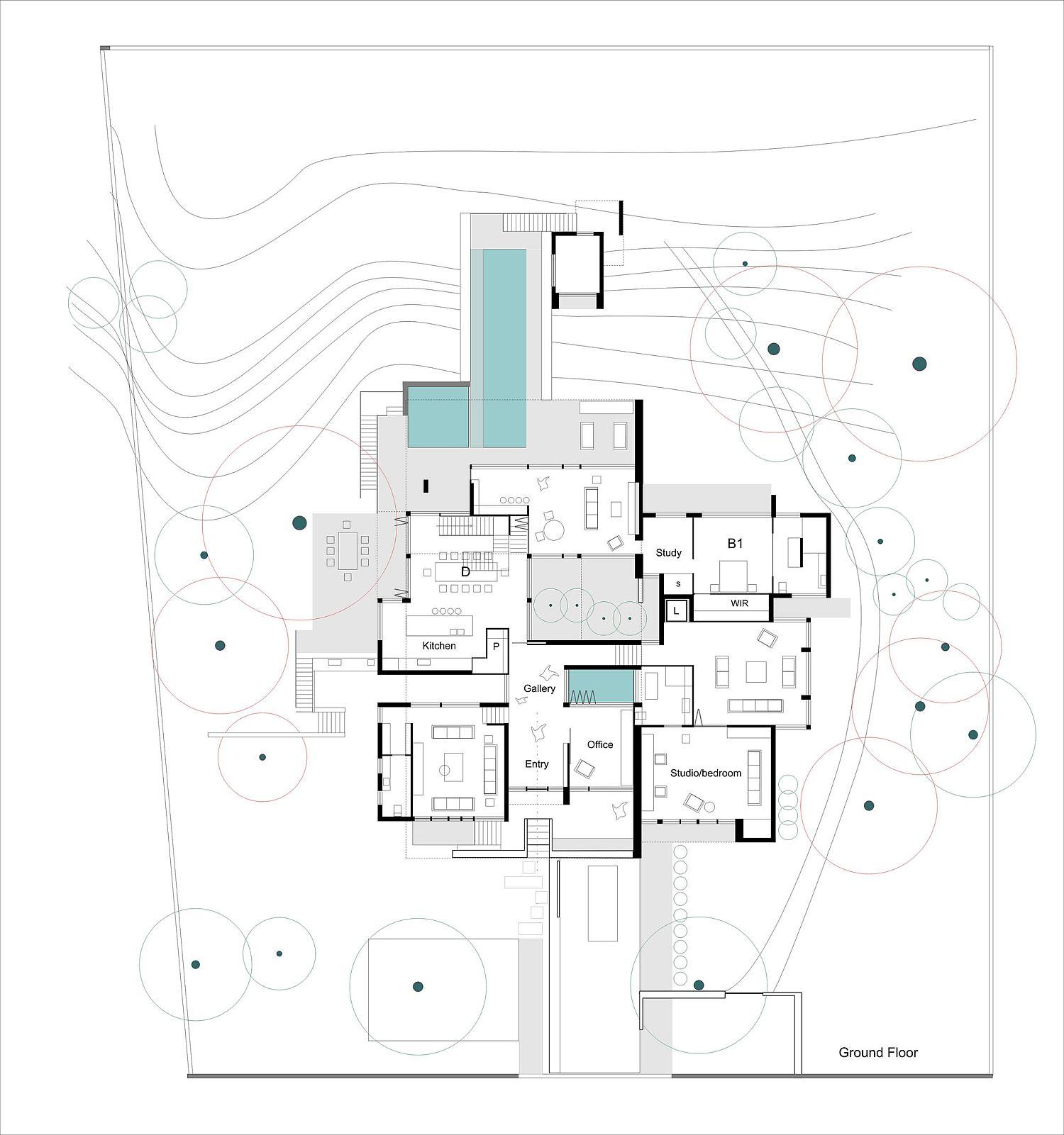 Ground floor plan of the modern home in Australia