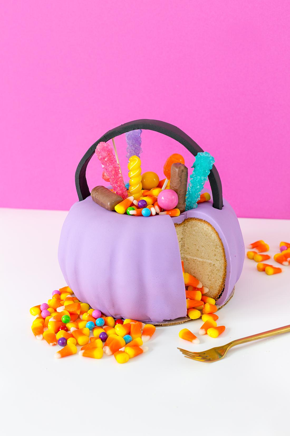 Halloween candy pail cake