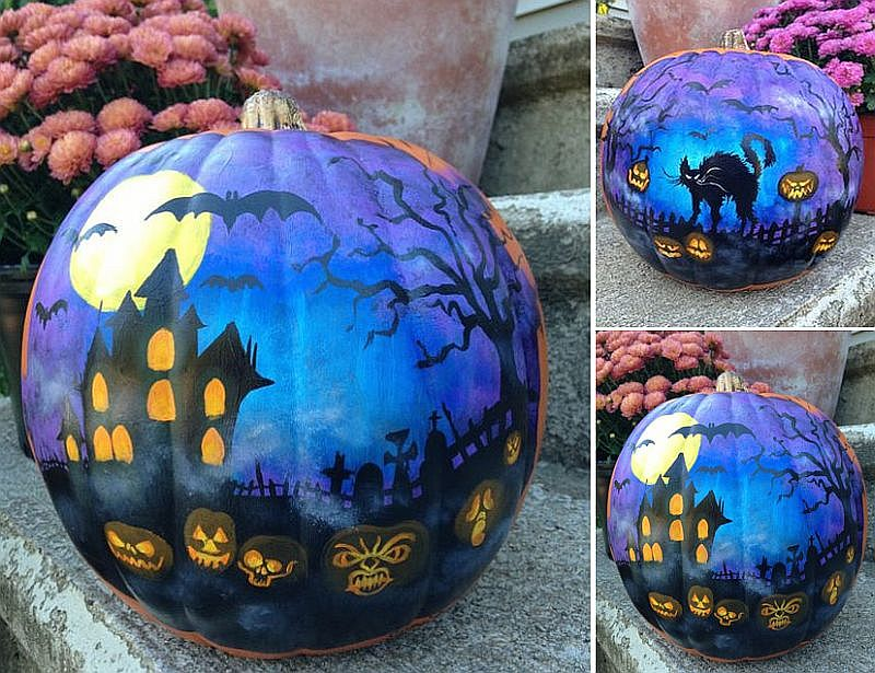 Haunted House painted pumpkin takes a bit more skill if not time!