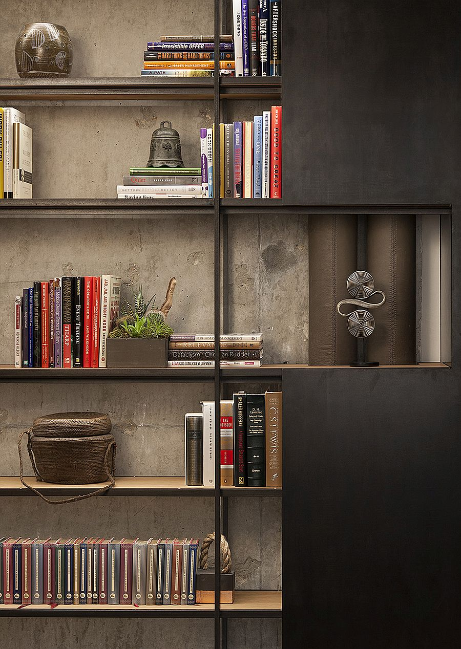 Home office shelving idea offers ample storage and display space