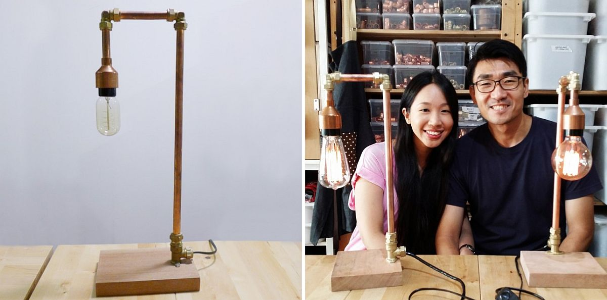 Industrial-style-copper-lamp-with-brass-fittings-DIY-idea-1