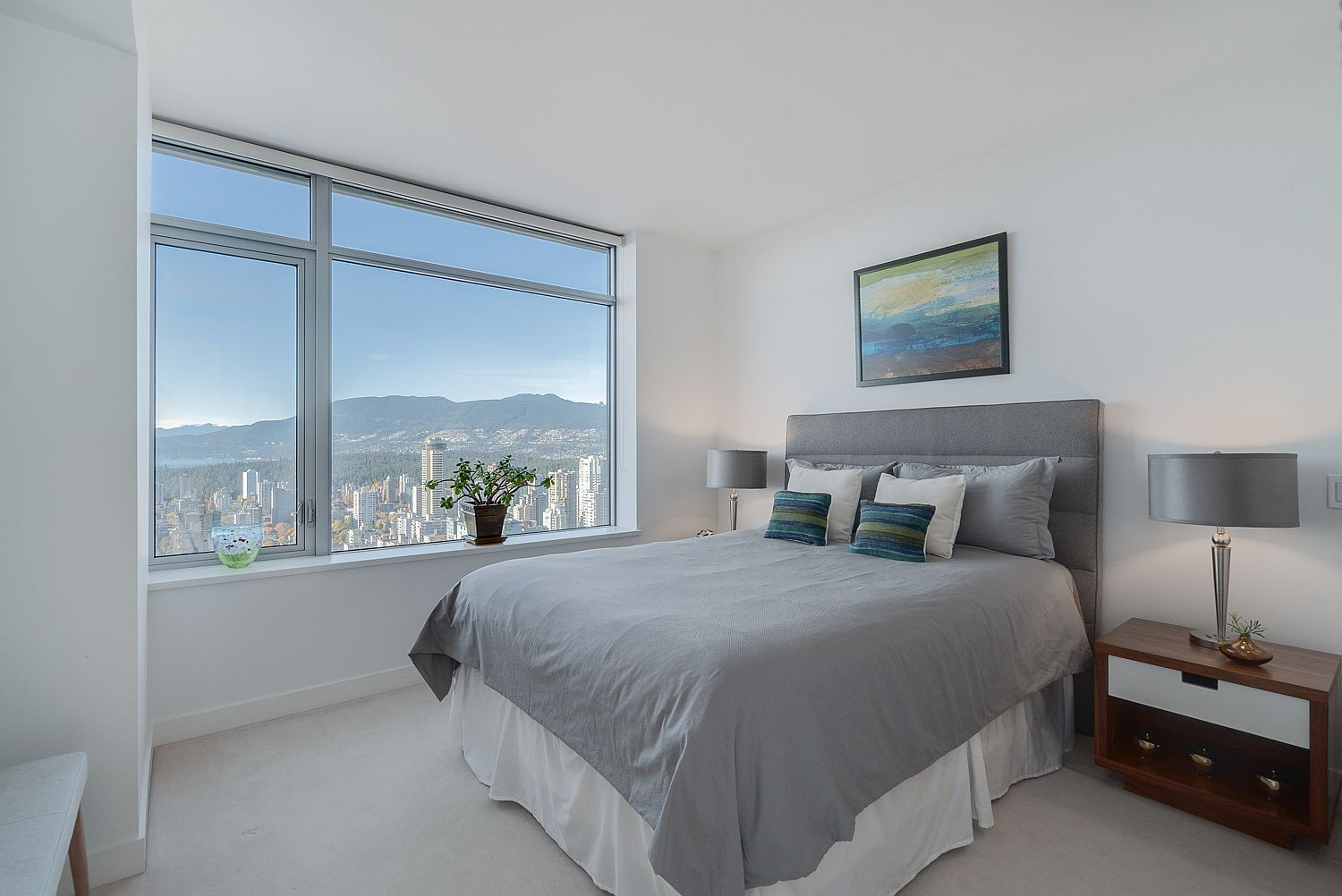 It is the views outside the bedroom window that add dramatic flair to the room