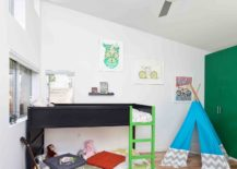 Kids-bedroom-with-modern-bunk-bed-snazzy-rug-and-a-teepee-in-the-corner-217x155