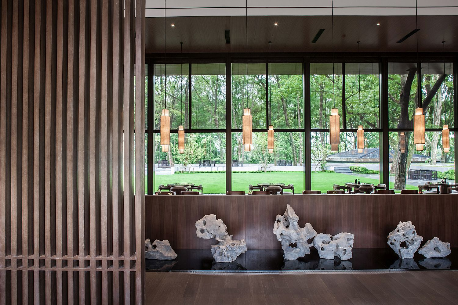 Lantern style lighting and fabulous, natural materials shape the Tea House interior