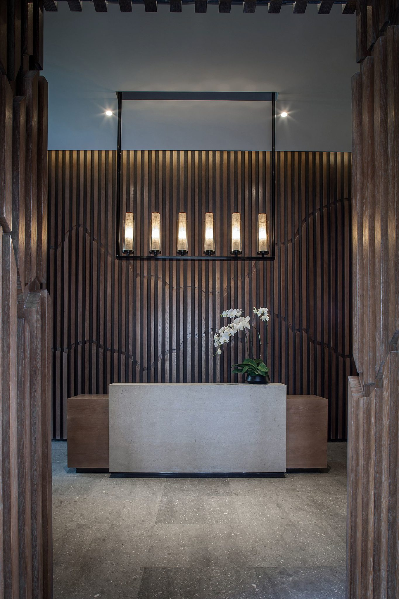 Minimal accessories and modern lighting fixture at the entrance