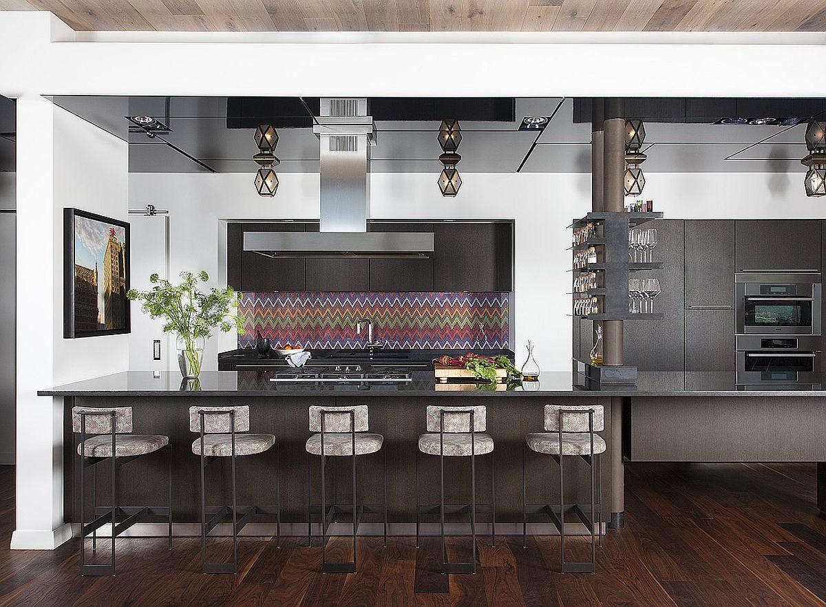 Modern kitchen with a funky, multi-colored backsplash