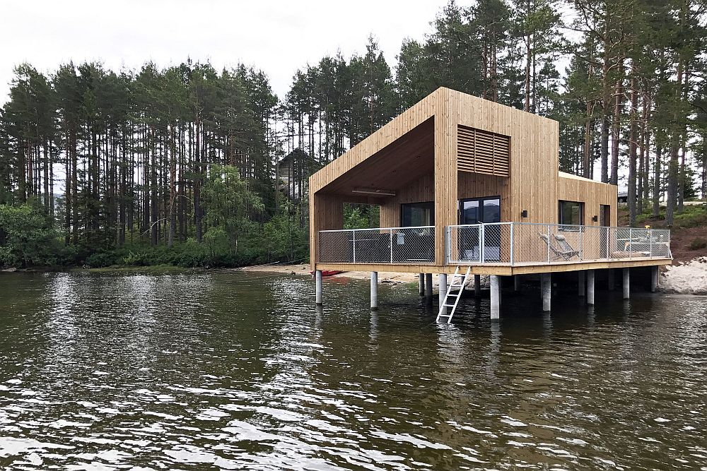 Modern lakeside cabin on stilts offer unabated views of the landscape