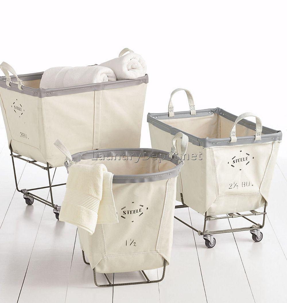 Modern laundry room storage cart on wheels