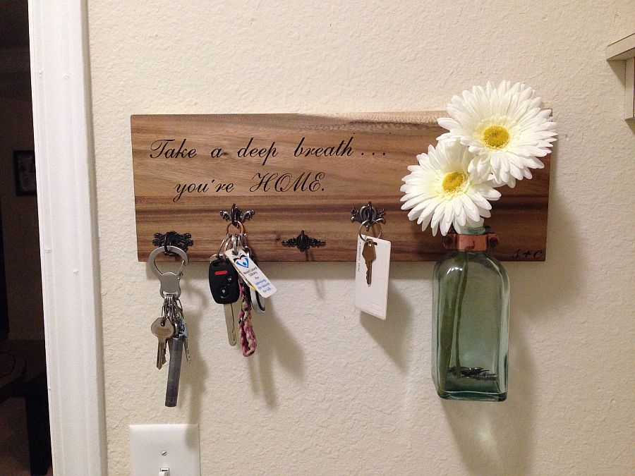 More traditional DIY key holder idea