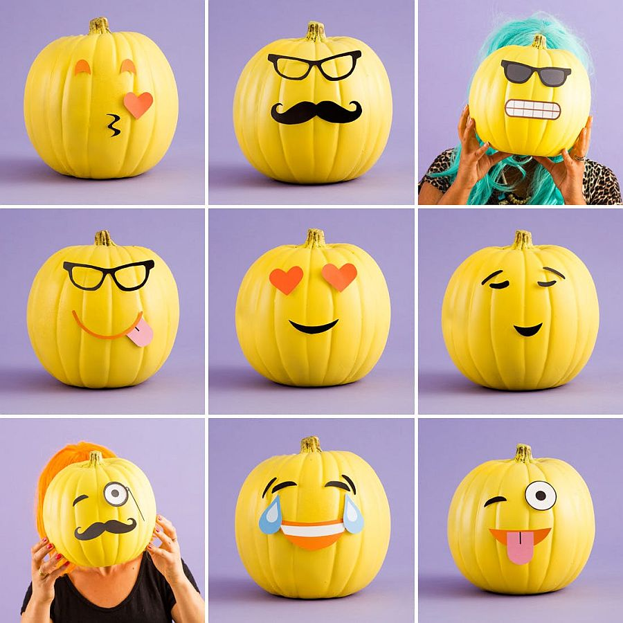 Move away from the eerie with cool and easy pumpkin decorating idea