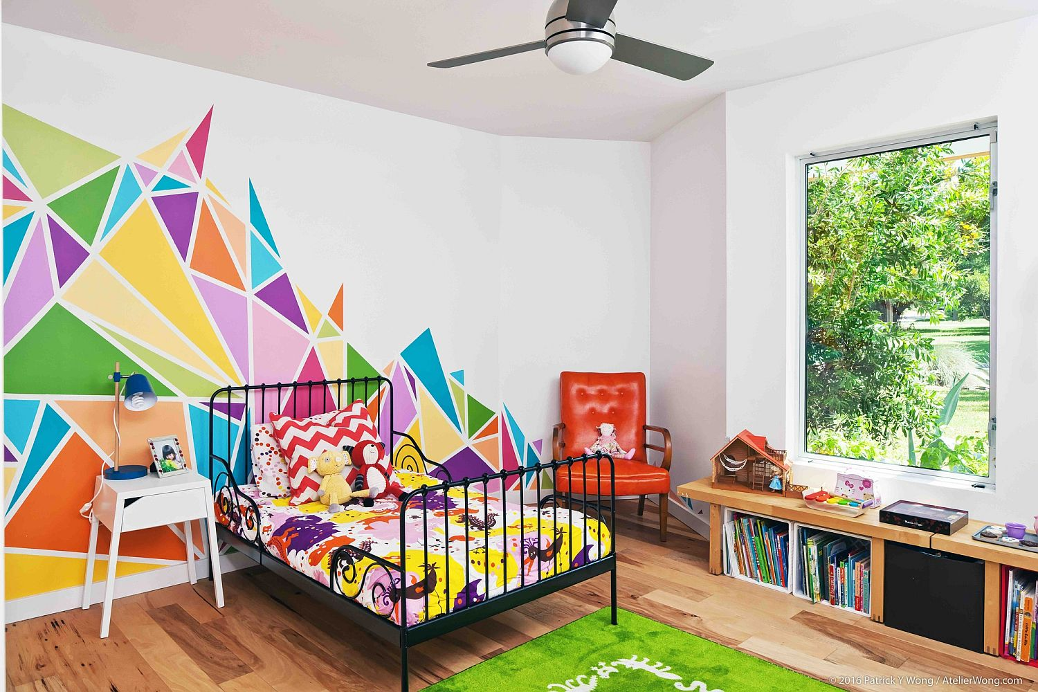 Multi-colored wall decal brings brightness to the kids' room