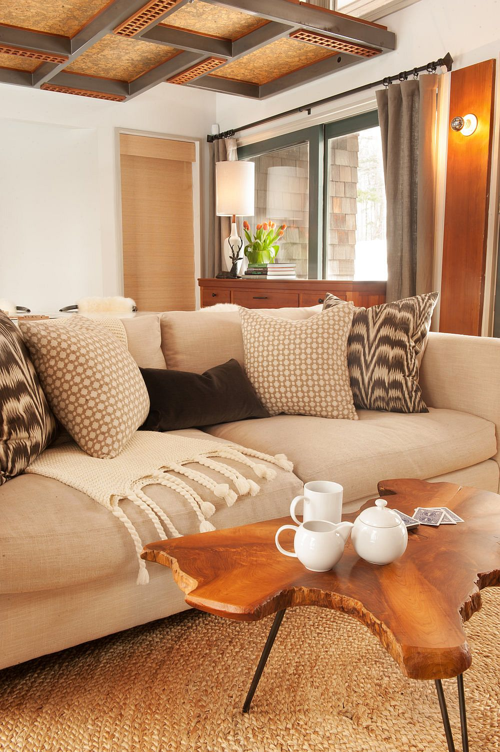 Natural edge coffee table for the ski retreat style interior