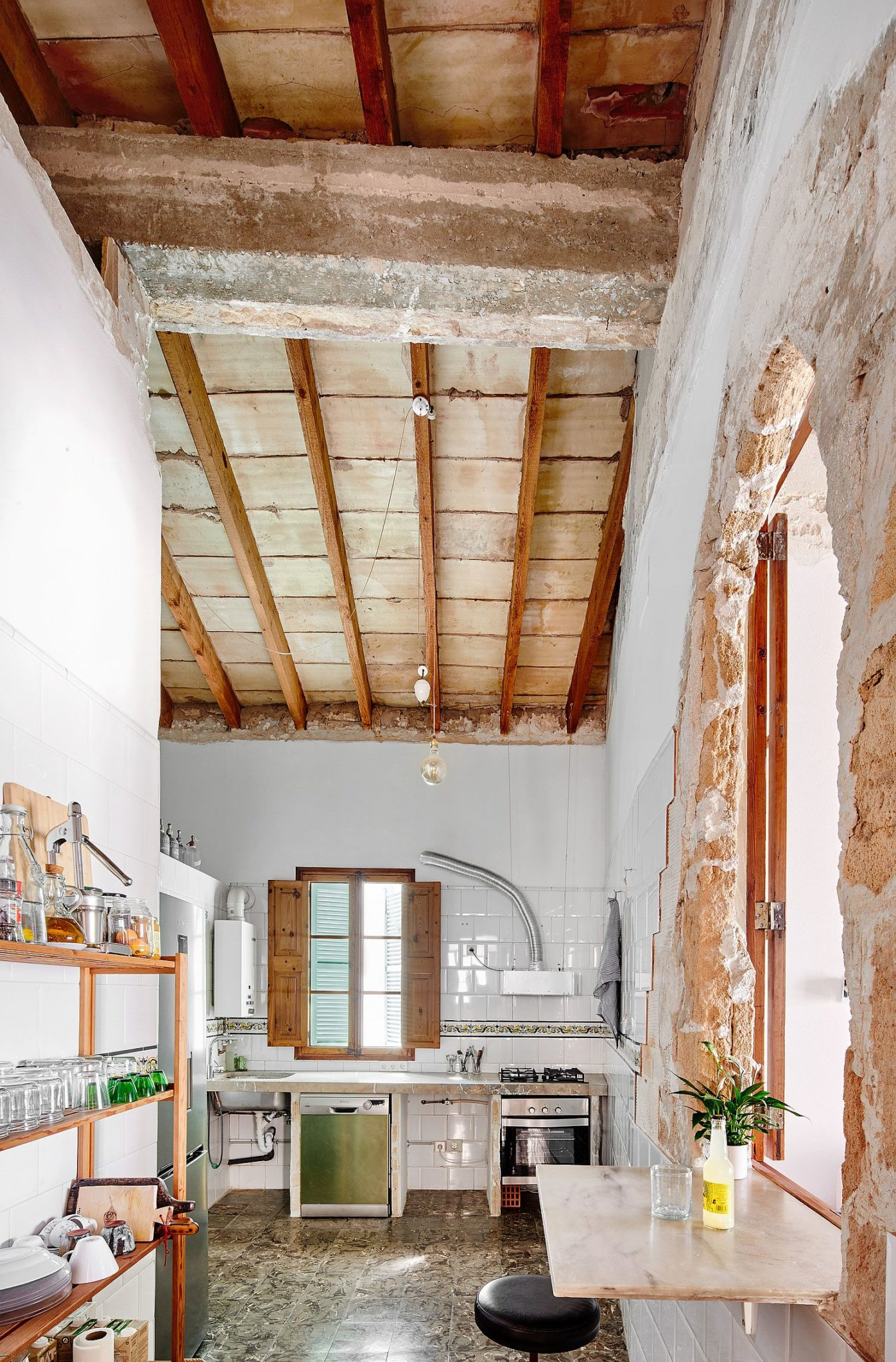 Old arches and high ceiling ensure that the interior is filled with natural light