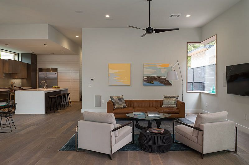 Open plan living area of the chic, contemporary home