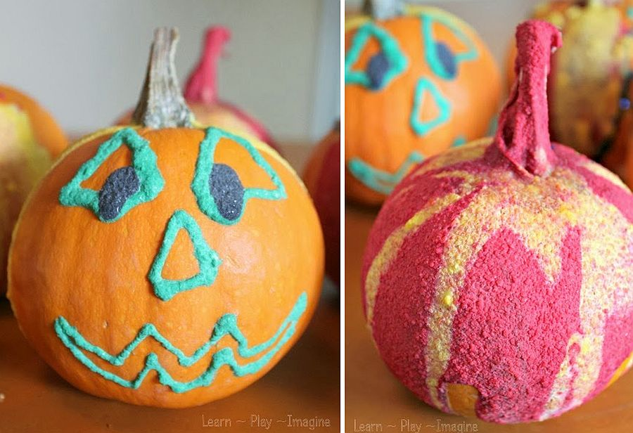 Puffy Paint Jack 'o Lanterns DIY Halloween Craft