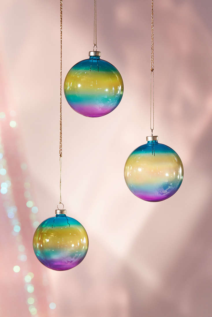 Rainbow iridescent ball ornaments