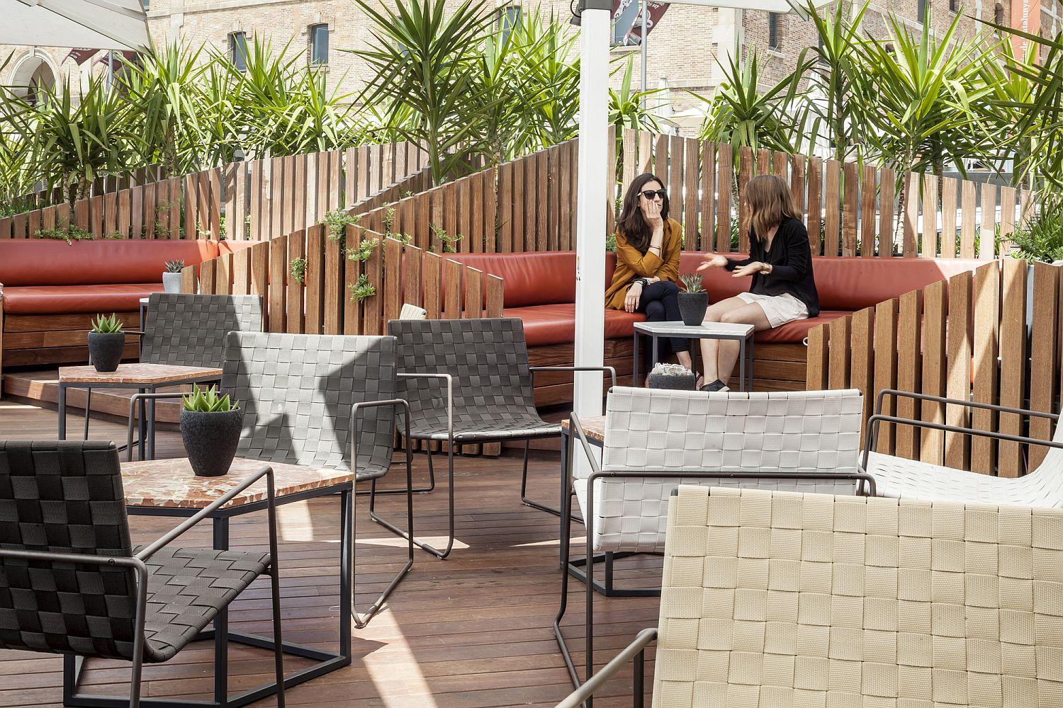 Relaxing terrace next to the port with the VIP lounge