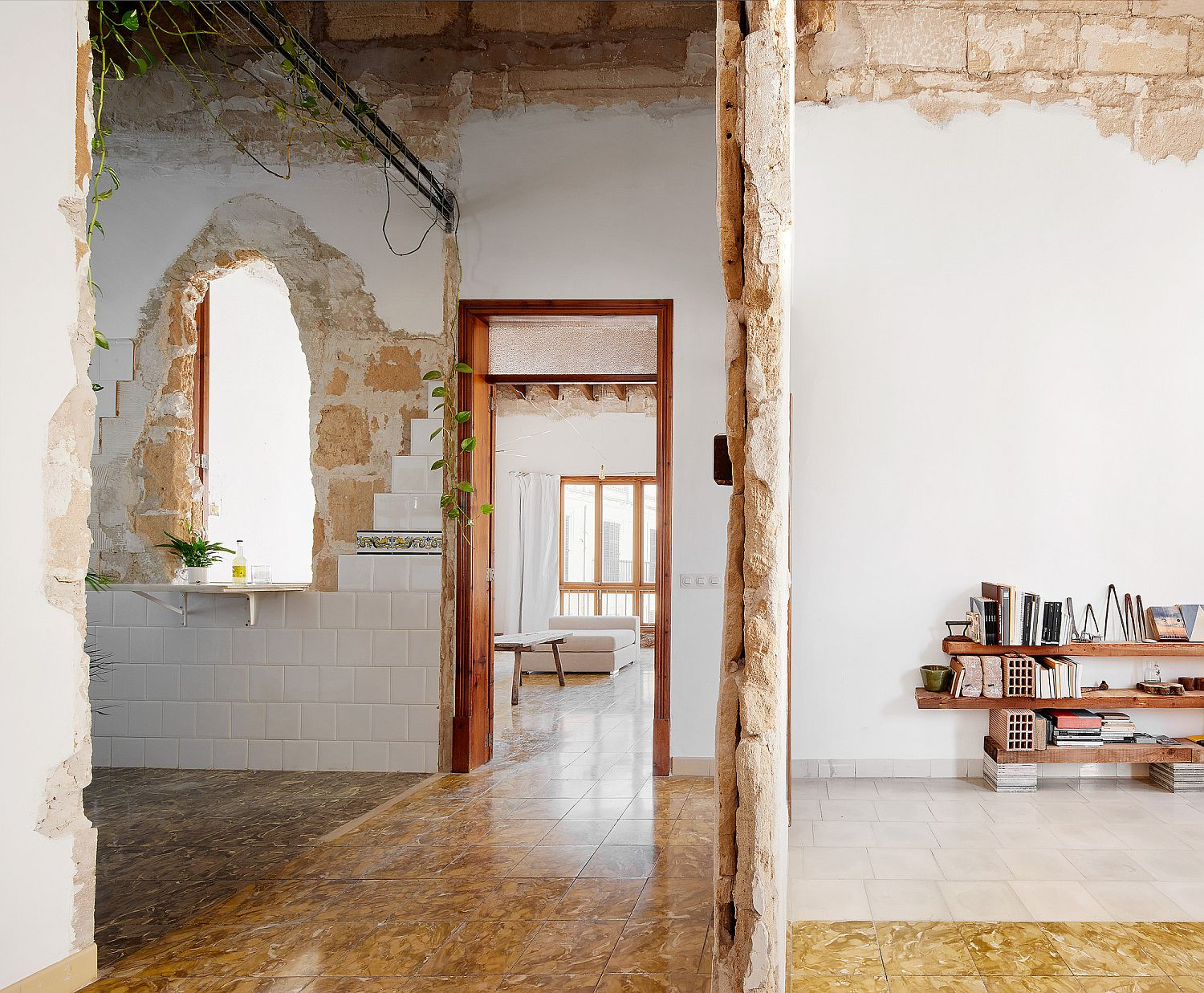 Revamped interior is a careful mixture of old, exposed elements and modern finishes