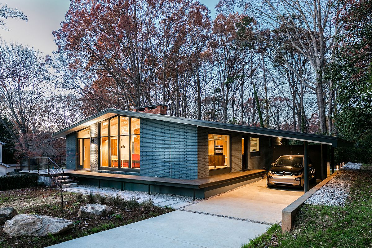 A mid century modern recreation ocotea house renovation for Home by design nc