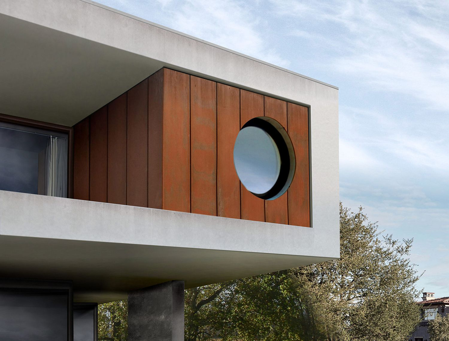 Rusted steel panels give the facade a unique look