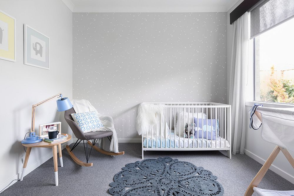 Scandinavian nursery in gray has a monochromatic look