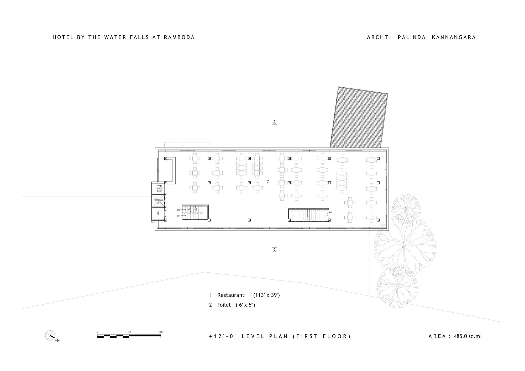 Second level floor plan of the Hotel by the Water Falls
