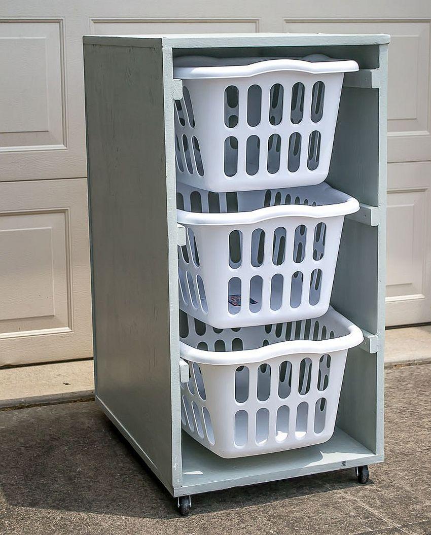 Space-savvy-DIY-laundry-basket-dresser-on-wheels