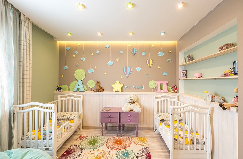 Sparkling, light-filled nursery is filled with plenty of color