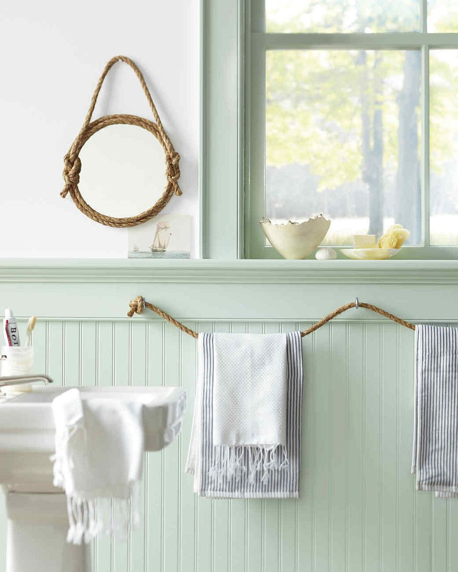 Super-easy DIY rope towel holder for the nautical themed bathroom