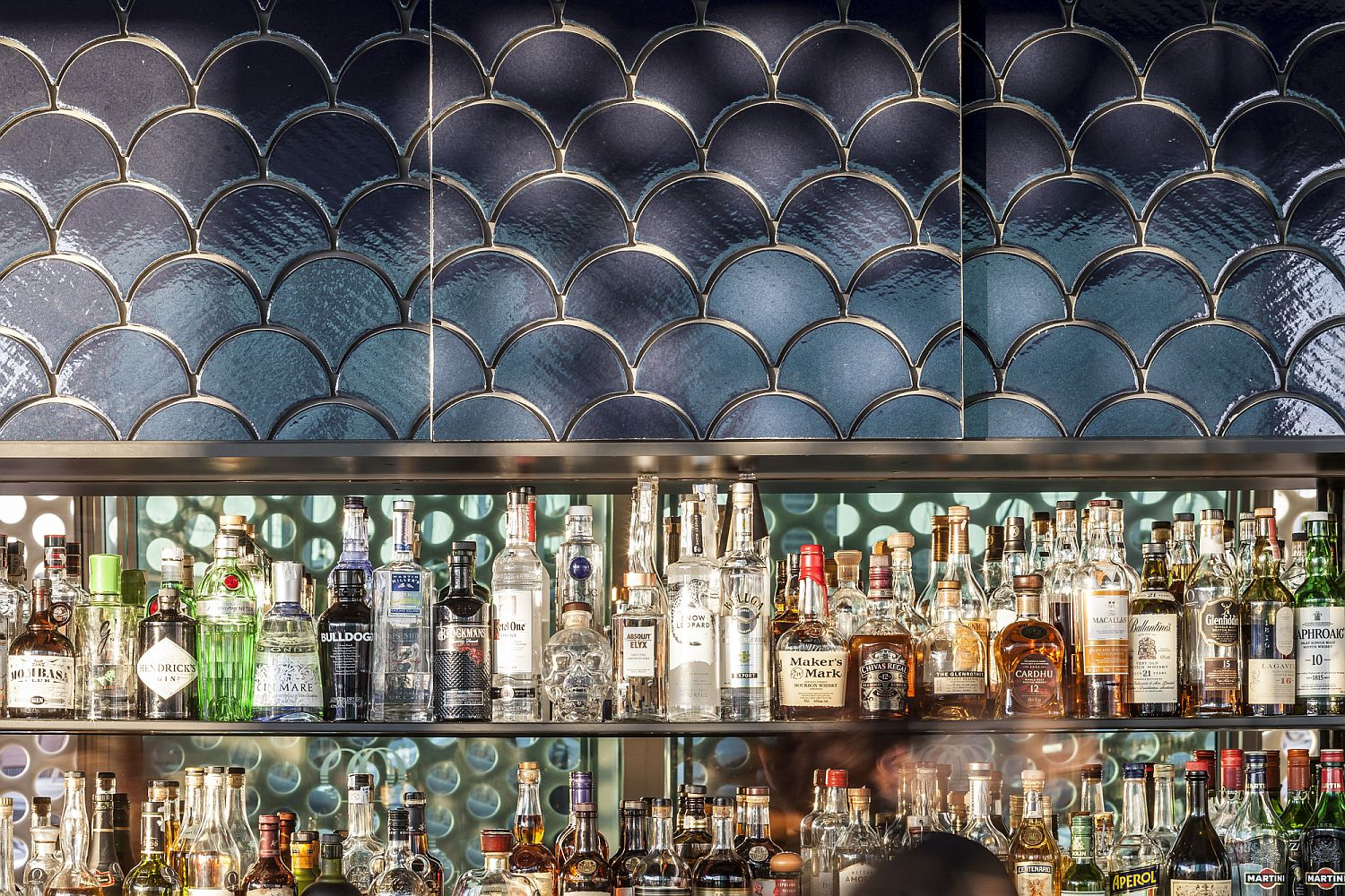 Tilework inside the bar is inspired by the colors of the ocean