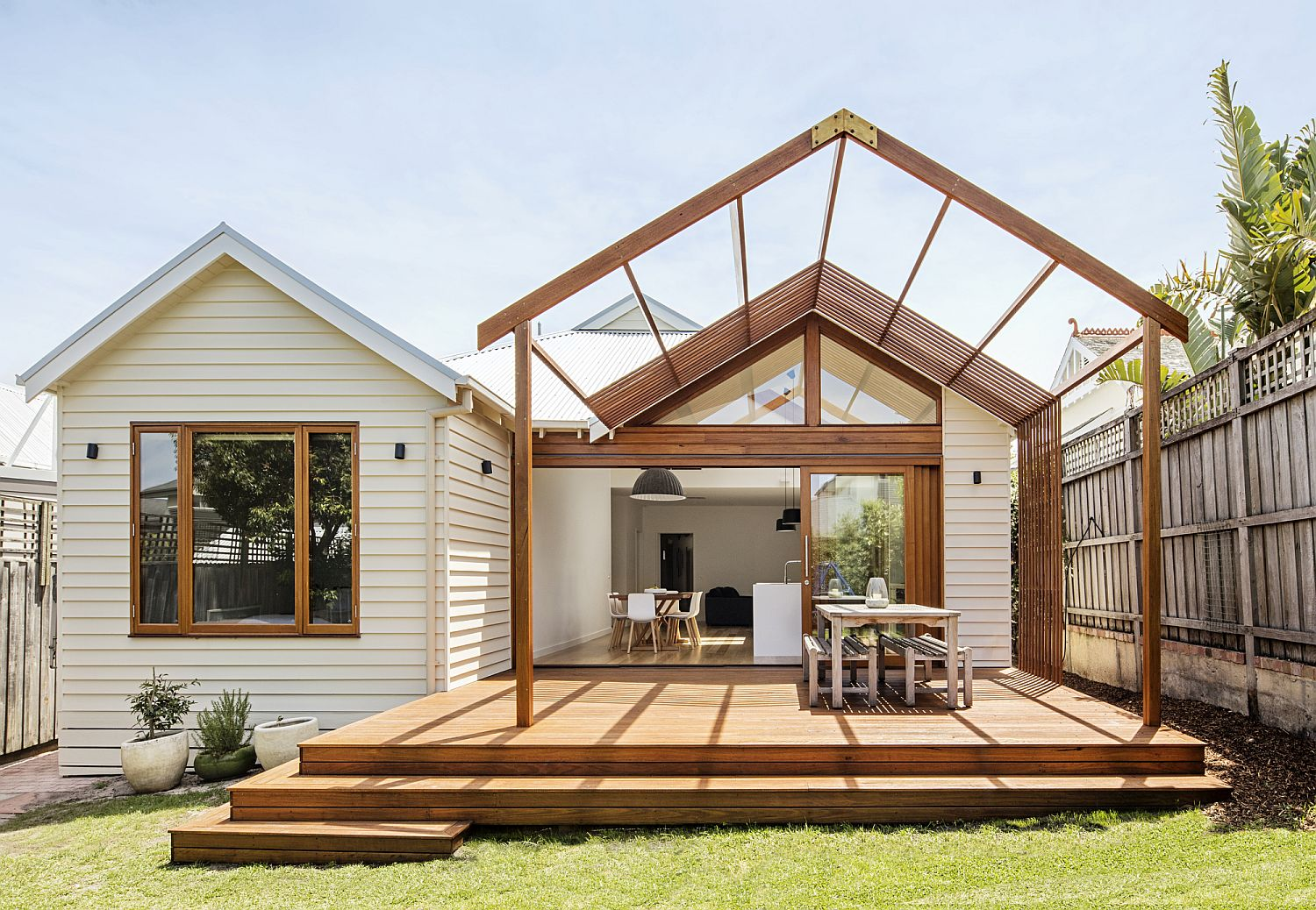 Timber and glass pergola structure at the rear of the Aussie home
