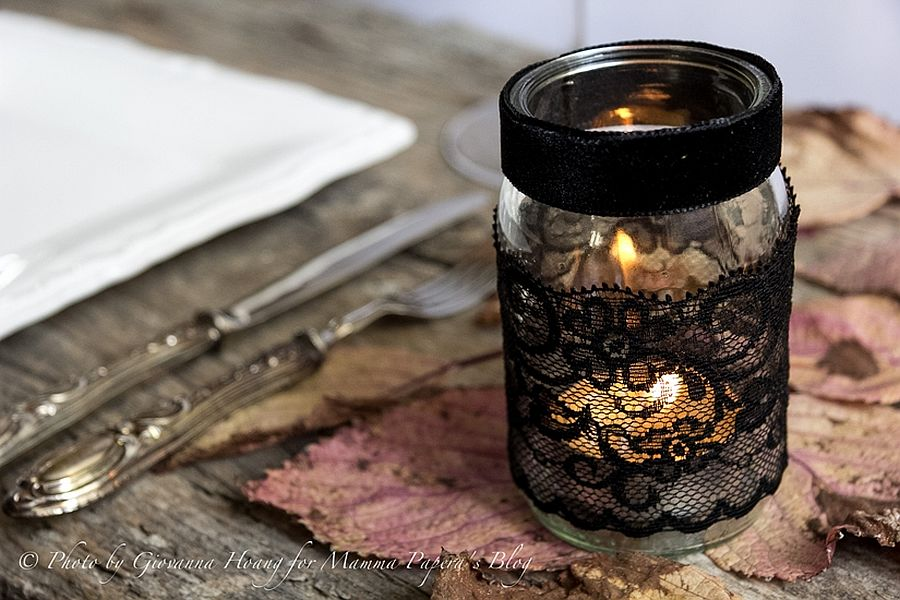 Touch of lace for a more stylish Halloween DIY Candle
