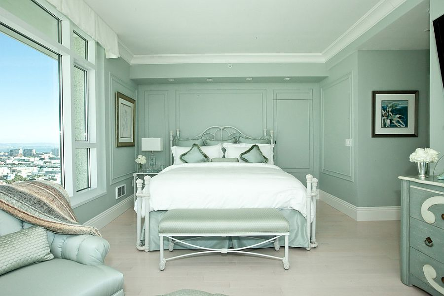 Transitional bedroom in pastel green with monochromatic look