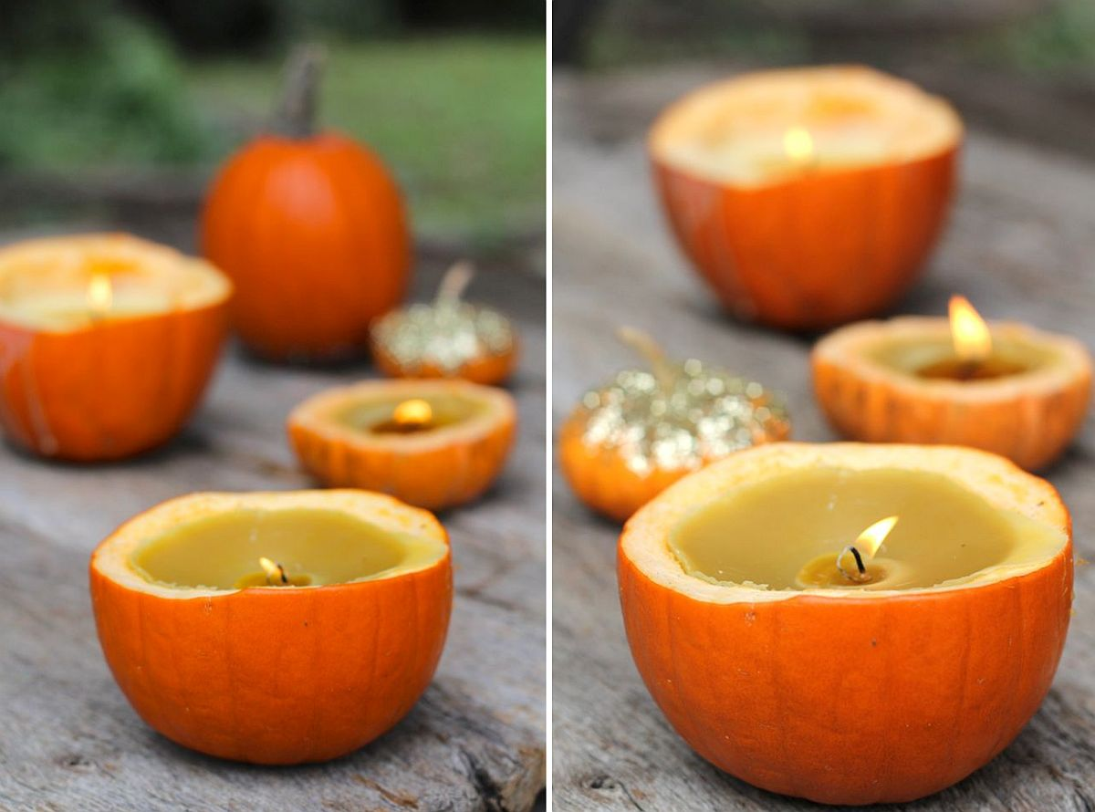 Ultra-simple Halloween Pumpkin Candles DIY