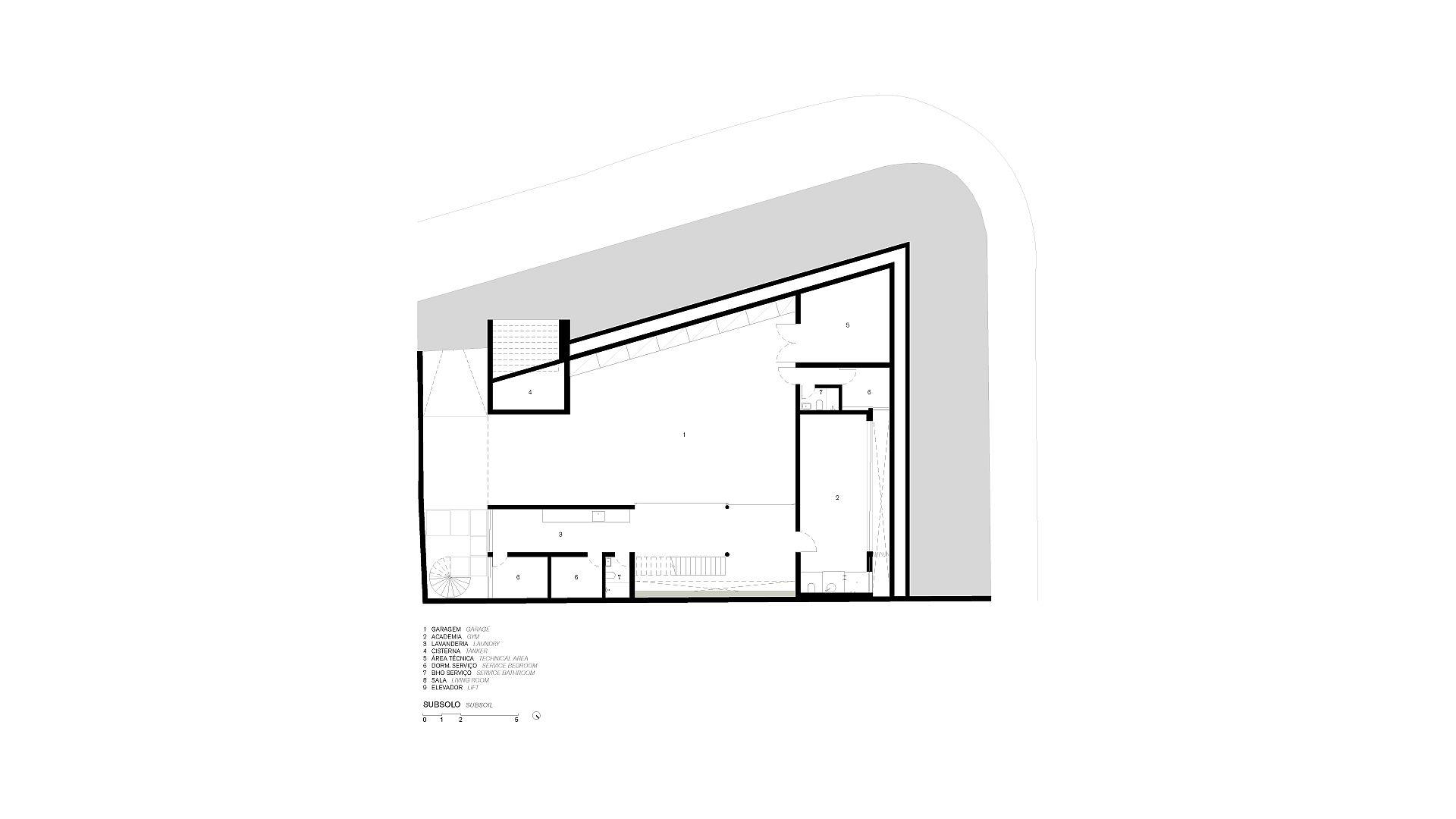 Underground level floor plan of JZL House
